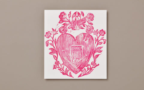 Pink Heart and Flowers Print