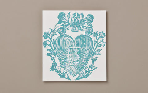 Blue Heart and Flowers Print