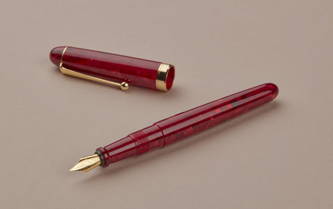 Ohnishi Seisakusho Red Marble Celluloid Fountain Pen