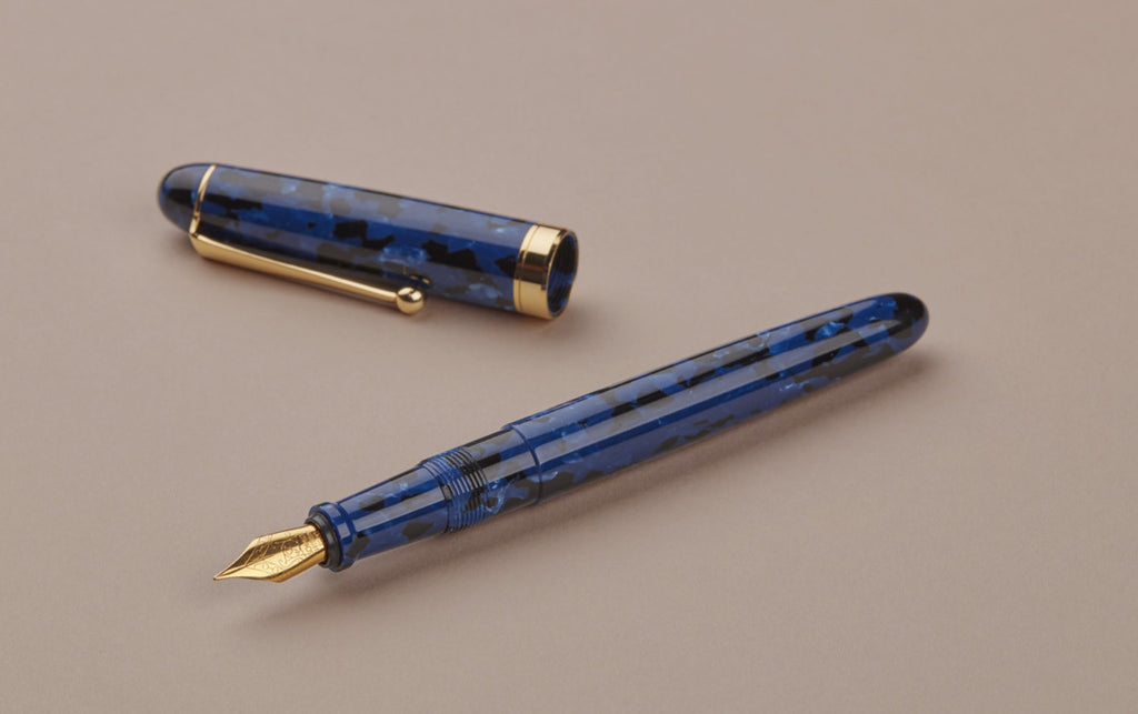 Ohnishi Seisakusho Blue Marble Celluloid Fountain Pen
