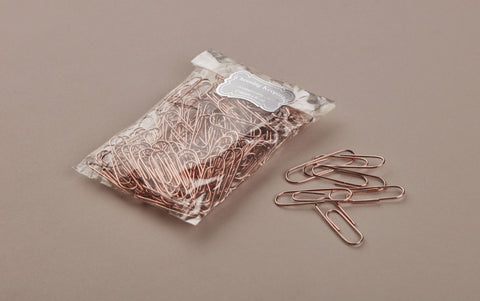 100 Rose Gold Gem Paper Clips