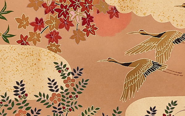 Full-Panel Chiyogami Silk Screen Print, Gold Peacock