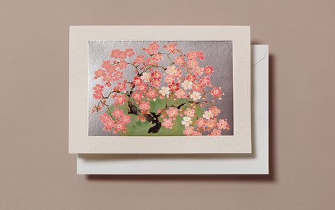 Matte Silver Cherry Blossom Tree Greeting Card