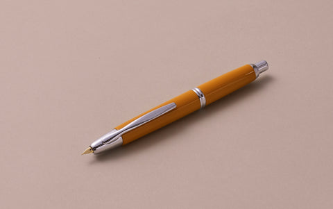 "1964 Capless ""Vanishing Point"" Fountain Pen, Chrome Mustard Yellow"