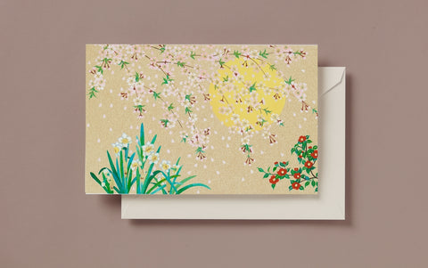 Gold Sun and Blossoms Greeting Card