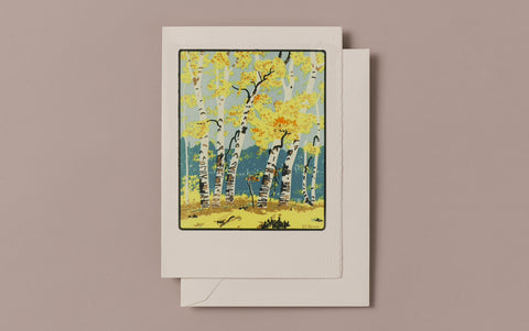 Letterpress Silver Birch Greeting Card