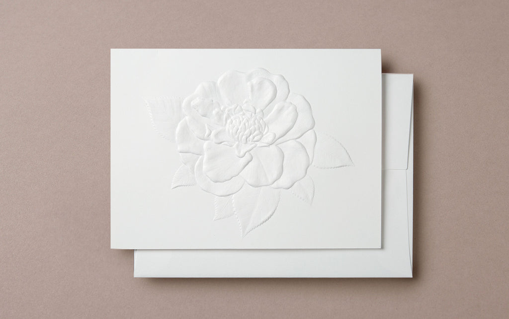 Blind Embossed Camellia Greeting Card