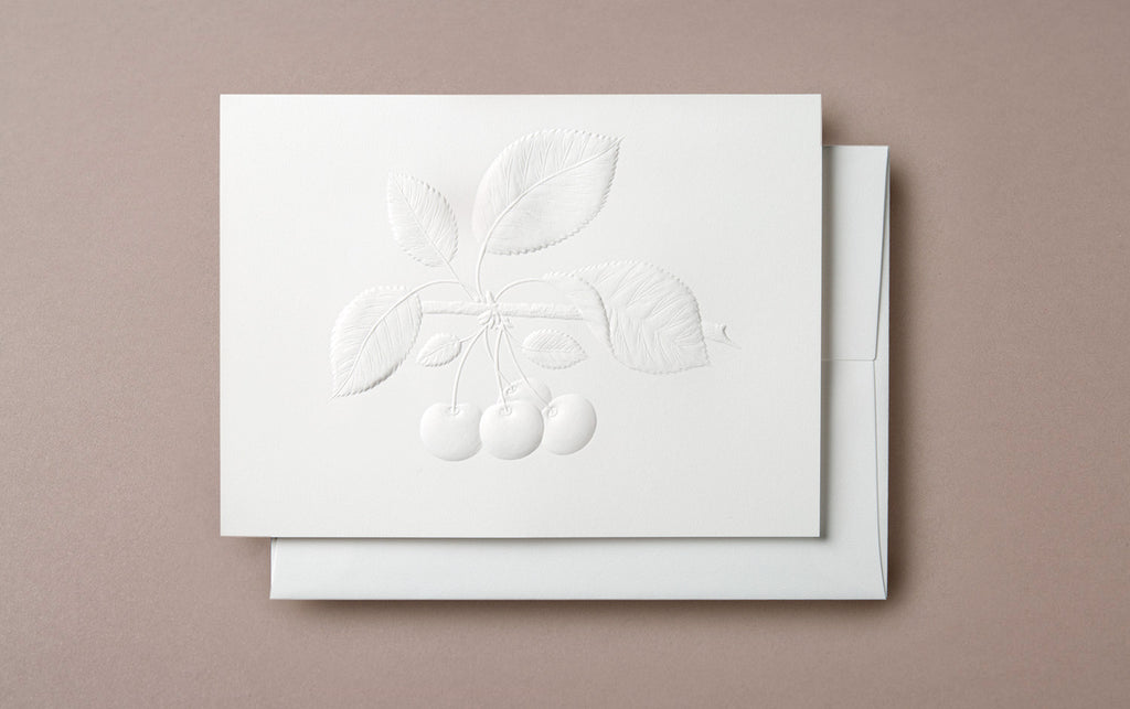 Blind Embossed Cherries Greeting Card