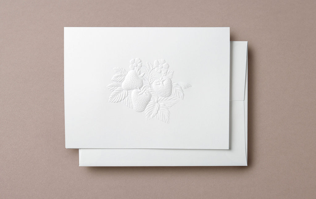 Blind Embossed Strawberries Greeting Card