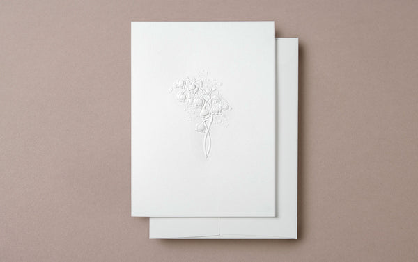 Blind Embossed Lily of the Valley Greeting Card