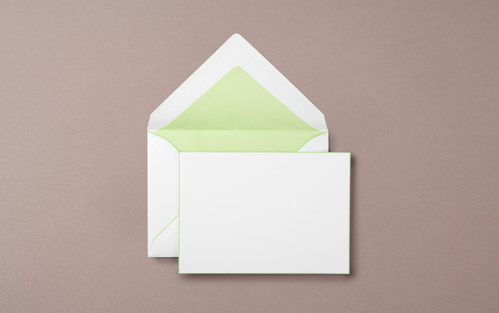 Single A6 Hand Painted Card and Envelope White/Green