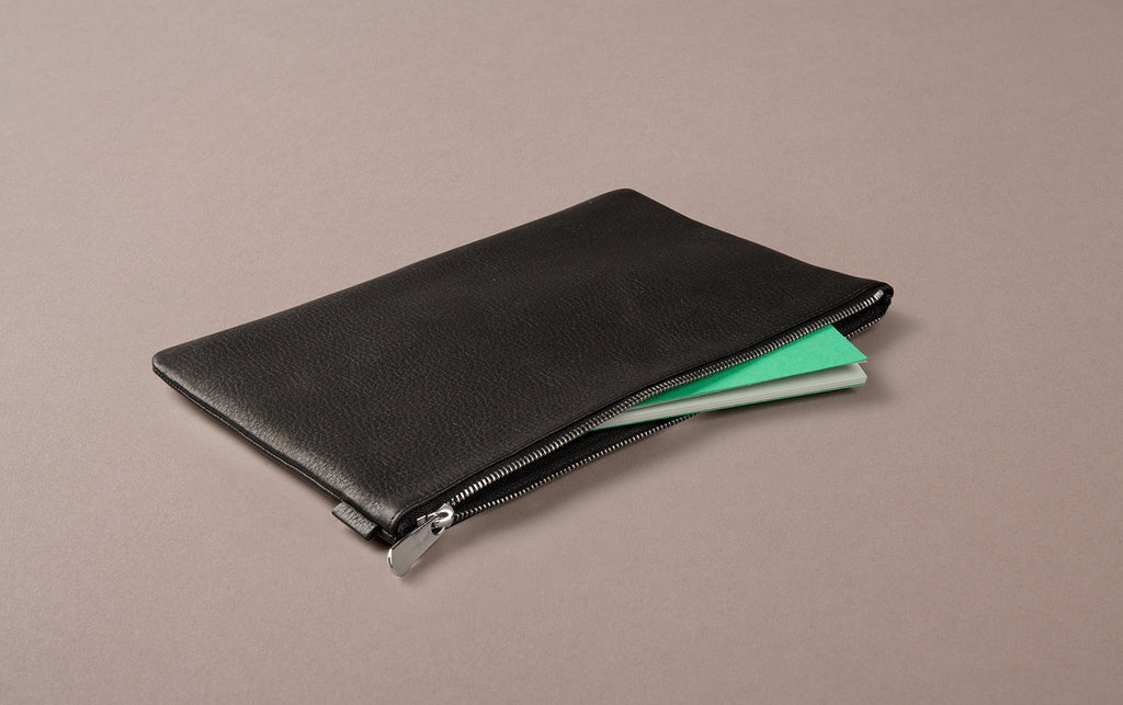 Black Leather A5 Document and Passport Case