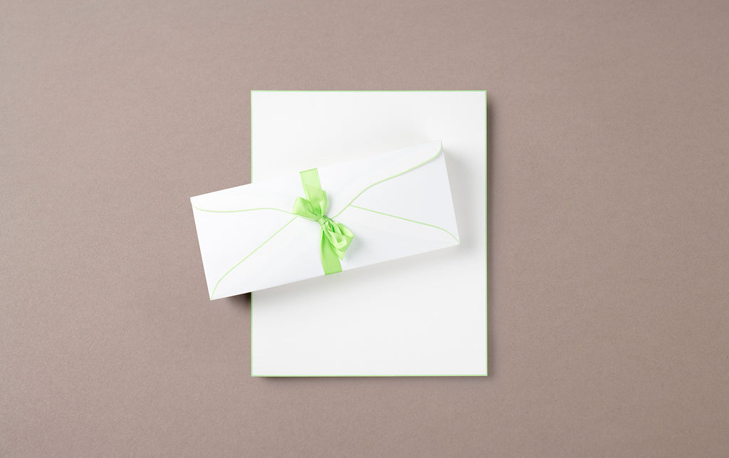 A4 - 50 Sheets 50 Envelopes - Letter Writing Set White/Green