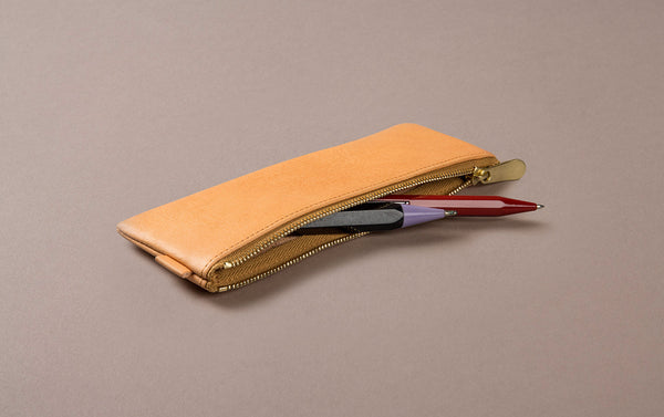 Nude Leather Small Pencil Case