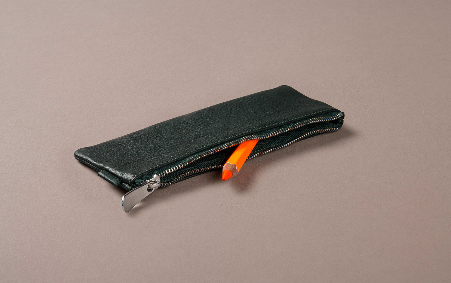 Green Leather Small Pencil Case