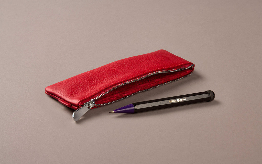 Red Leather Small Pencil Case