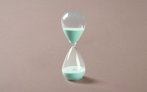 Clear 60 minute Handblown Hourglass, Turquoise-mint Sand
