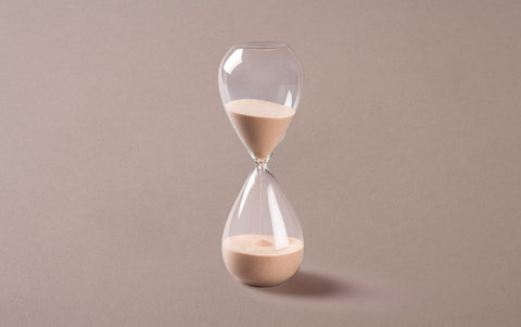 Clear 60 minute Handblown Hourglass, Taupe Sand