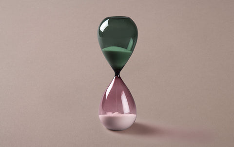 Green/Purple 60 minute Handblown Hourglass