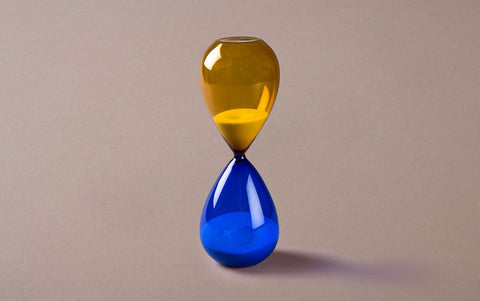 Yellow/Blue 60 minute Handblown Hourglass