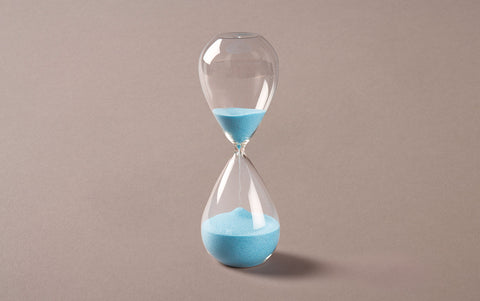 Clear 60 minute Handblown Hourglass, Blue Sand