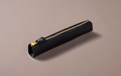 Black Leather Slim Pen Case