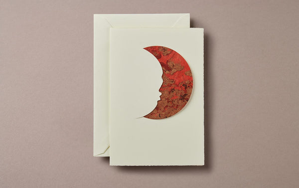 Red Marble Moon Greeting Card