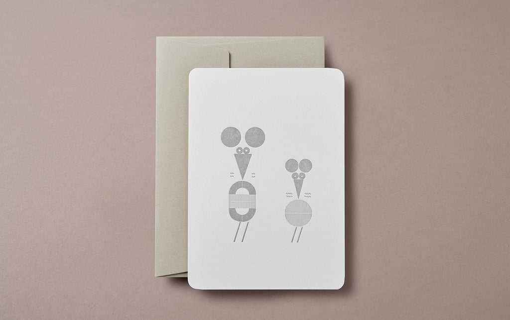 Letterpress Big Mouse, Little Mouse Greeting Card