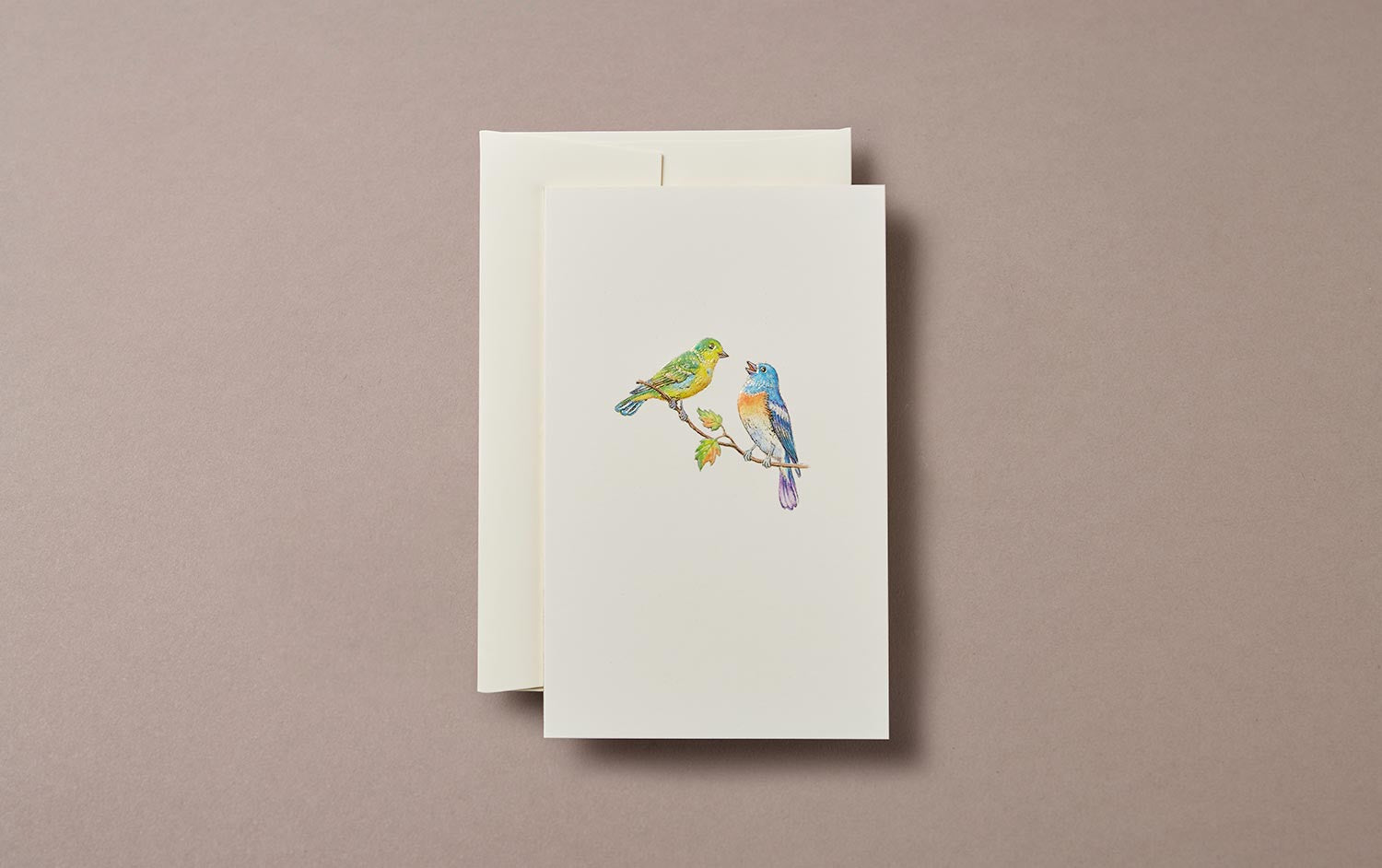 Pair of blue and green birds Embossed Greeting Card