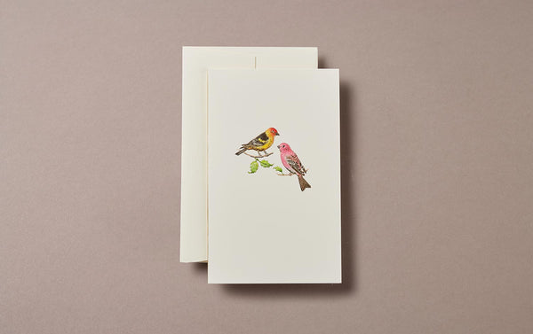 Pair of red and yellow birds Embossed Greeting Card