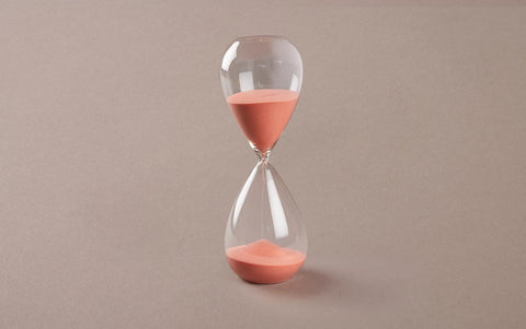 Clear 60 minute Handblown Hourglass, Rose Sand