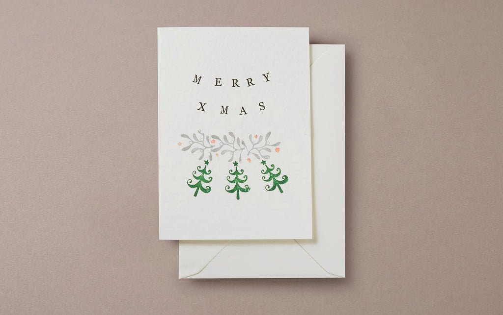 Stamp Printed Christmas Card No 1