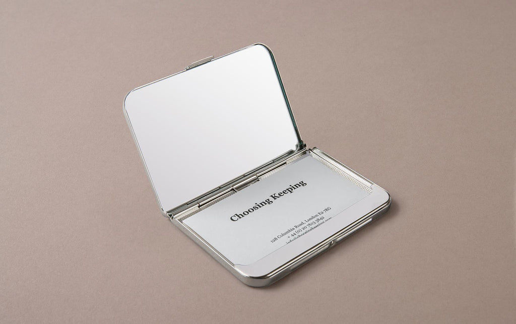 Chrome Card Case and Holder with Mirror