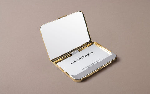 Brass Card Case and Holder with Mirror