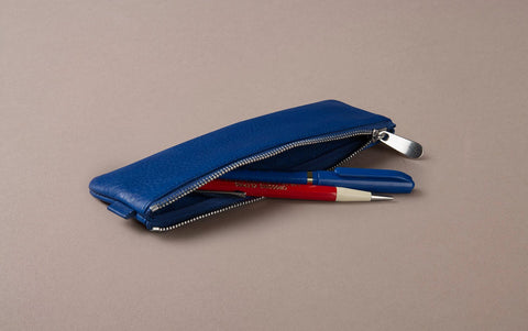 Royal Blue Leather Small Pencil Case