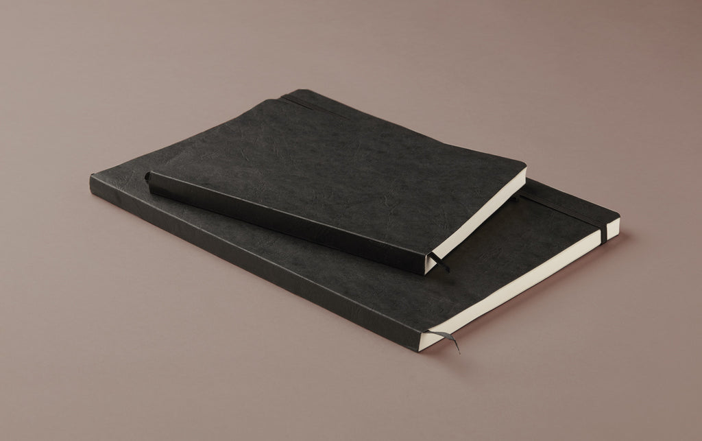 Black Softcover Faux Leather Notebook with elastic