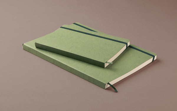 Green Softcover Faux Leather Notebook with elastic