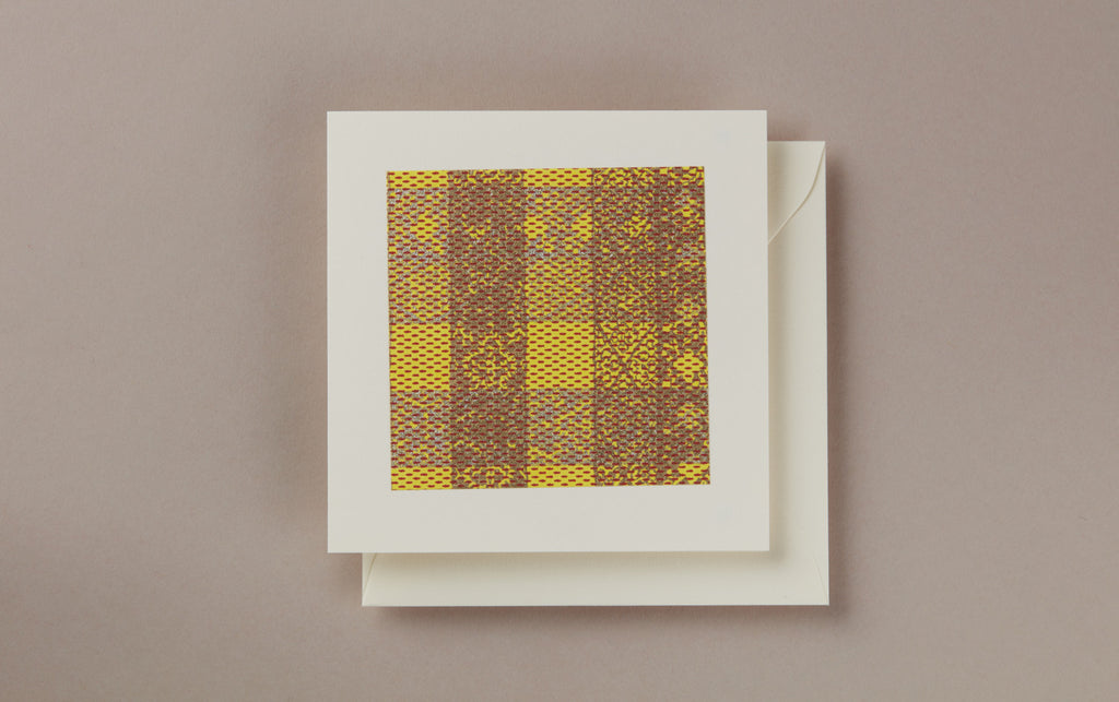 Yellow Tartan Square greeting card