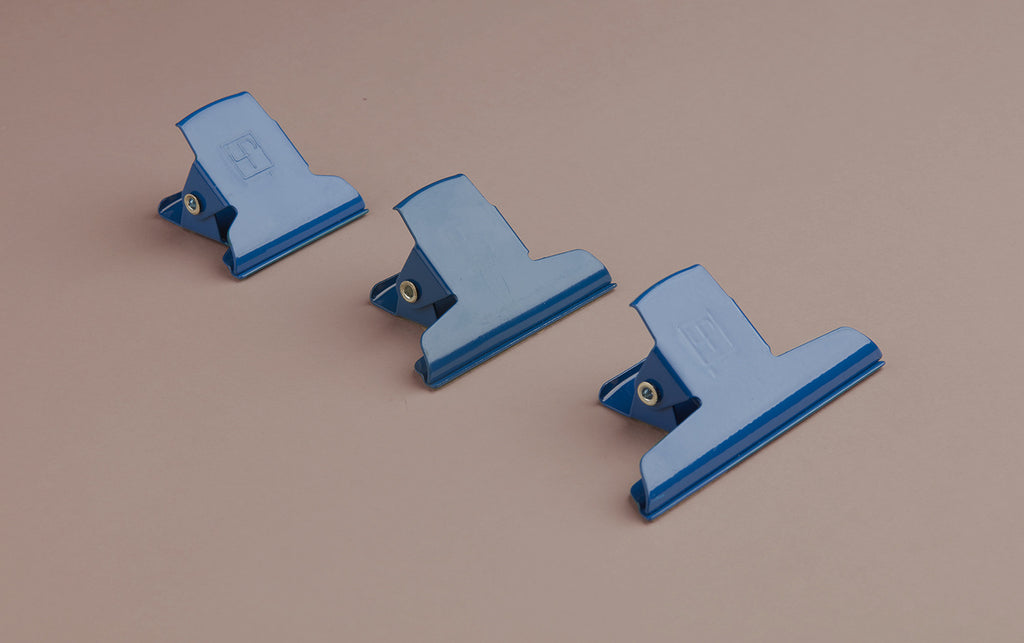 Blue Powder Coated Enamelled Binder Clip