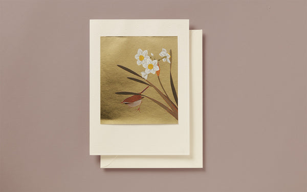 Large Gold Foil Bird and Daffodil Greeting Card