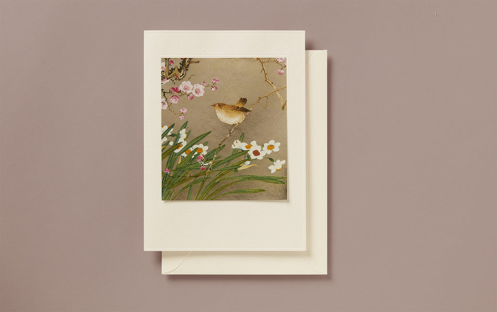 Large Gold Foil Sparrow Greeting Card