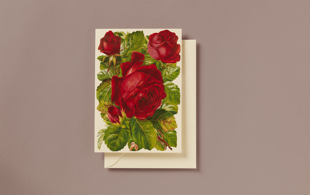 Embossed Die Cut Red Roses Greeting Card