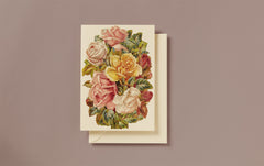 Embossed Die Cut Pink Roses Greeting Card