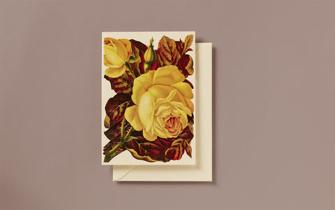 Embossed Die Cut Yellow Roses Greeting Card