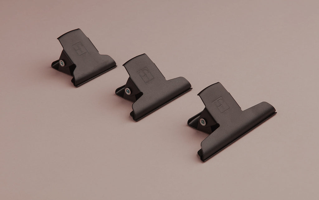 Matte Black Powder Coated Enamelled Binder Clip