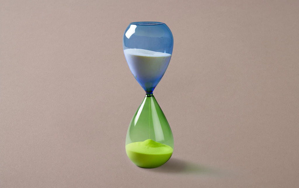 Green/Blue 60 minute Handblown Hourglass