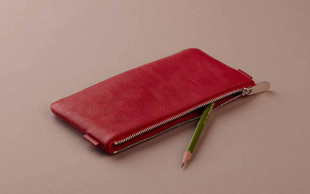 Red Leather Medium Pencil Case
