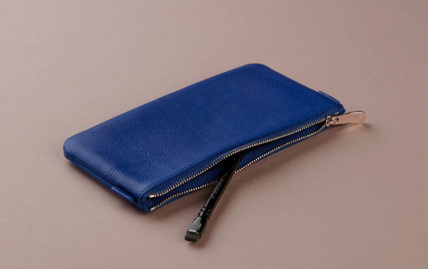Royal Blue Leather Medium Pencil Case
