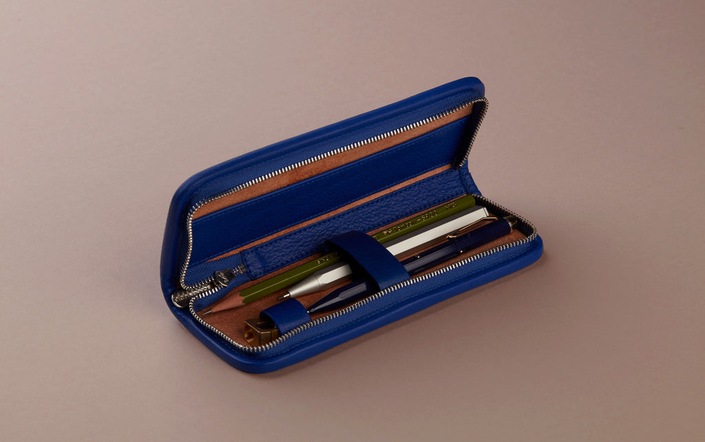 Blue Small tan leather pencil case