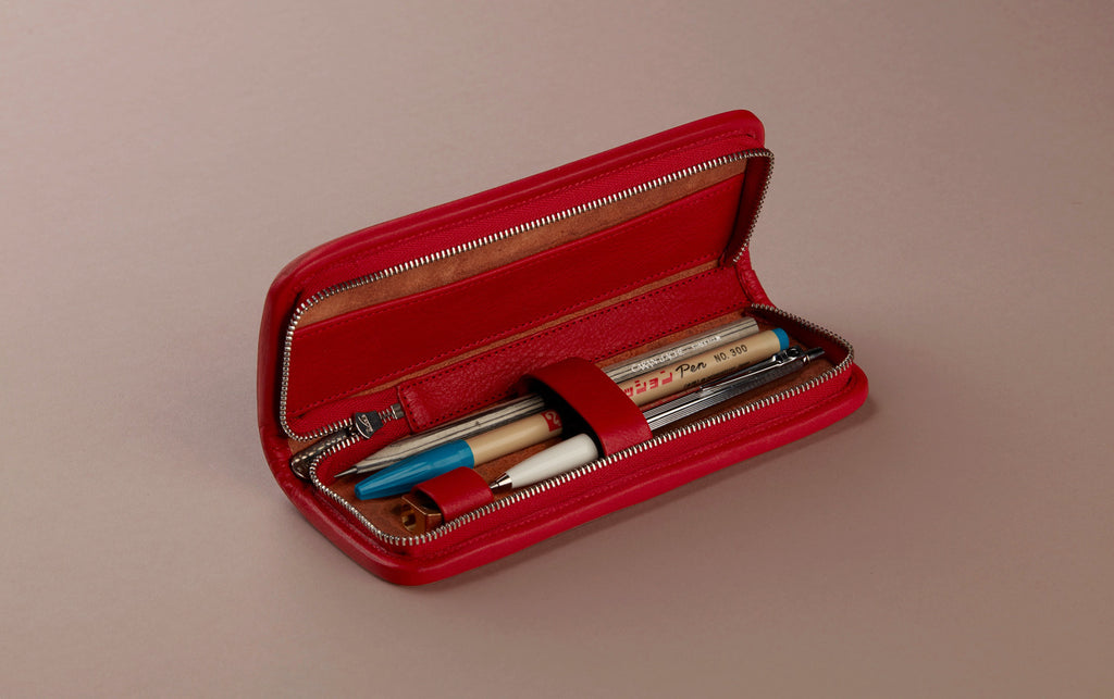 Red Small Leather Pencil Case